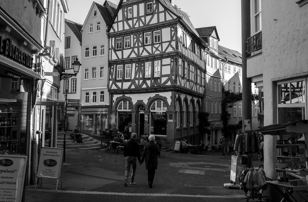 No Leica fan visiting Wetzlar can resist standing on the spot where Oskar Barnack took his iconic shot of the Alten Münz house in the Eisenmarkt in 1913. This is my effort, taken with the nearest digital thing we have to a Barnack Leica, Leica CL and 23mm Summicron. It is said that the Ur-Leica back in 1913 had a focal length of approximately 42mm.