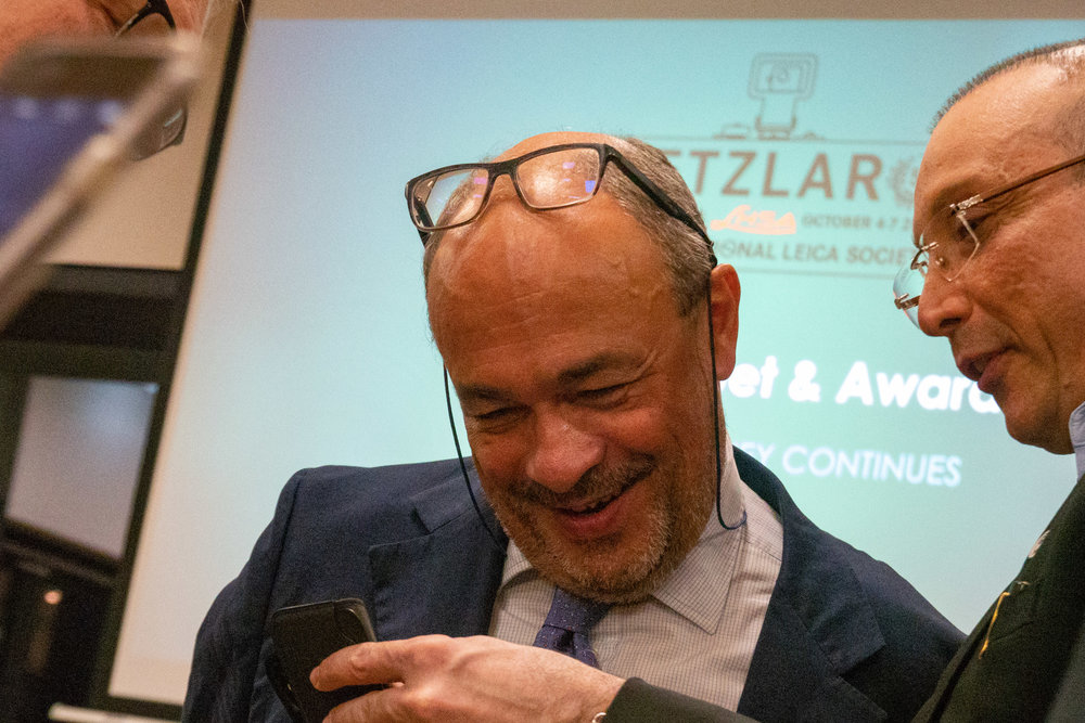 Brazilian photographer Marcus Lins-Barroso shares a moment with Leica's big boss, Andreas Kaufmann