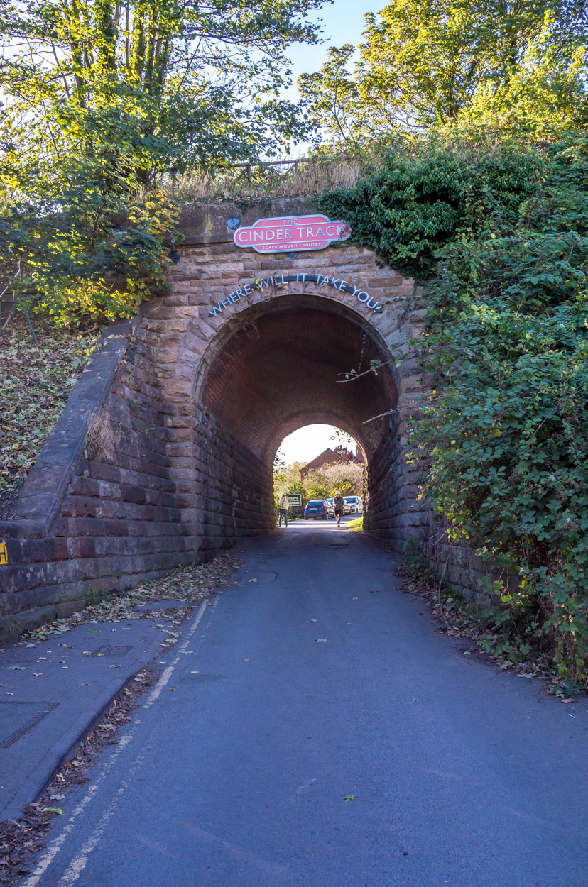 Where it all begins in Whitby - the first railway arch that marks the start.