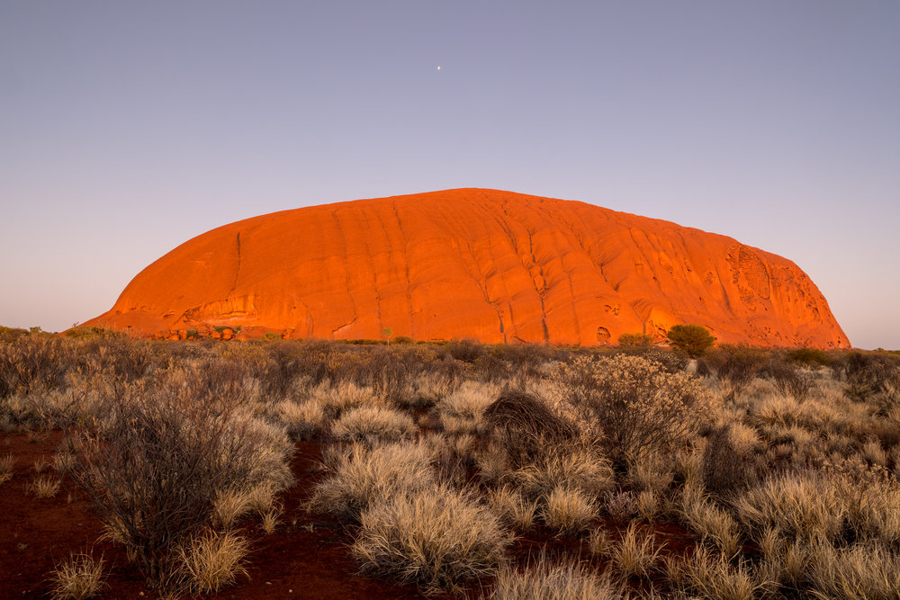 Uluru from the north-east about forty minutes before sunrise, Leica CL and 18-56mm lens.