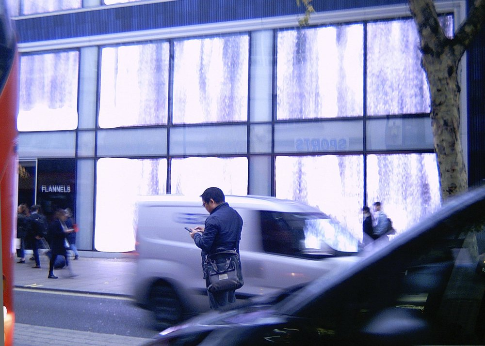 Same thing, Minox 'mock M3' digital camera: hopeless blur at 1/10th sec auto shutter speed, 'burned-out' highlights, auto white balance, really dismal outdoor performance. See what I mean about the blue?