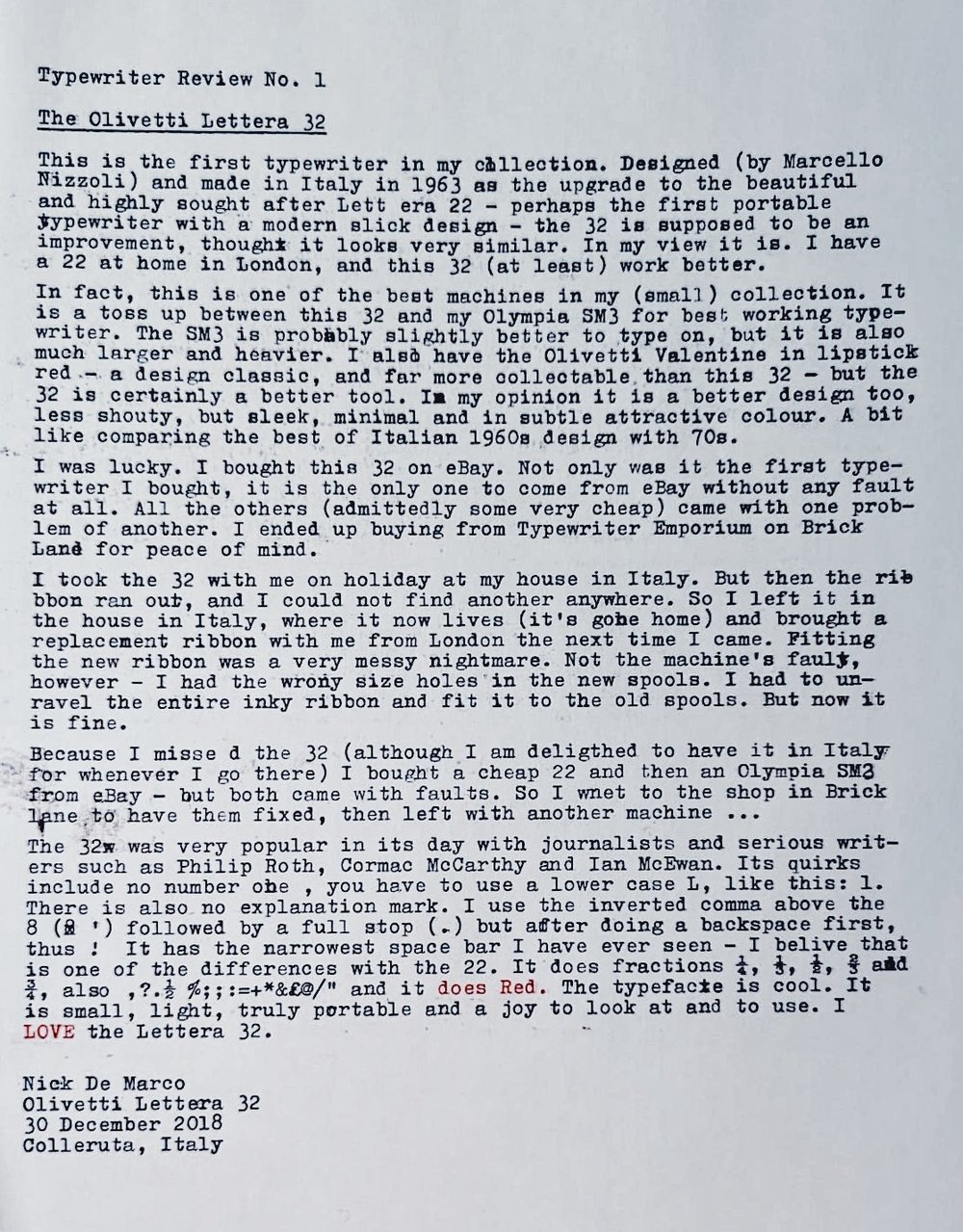 Nick De Marco's review of his Olivetti Letter 32, on the Olivetti Lettera 32