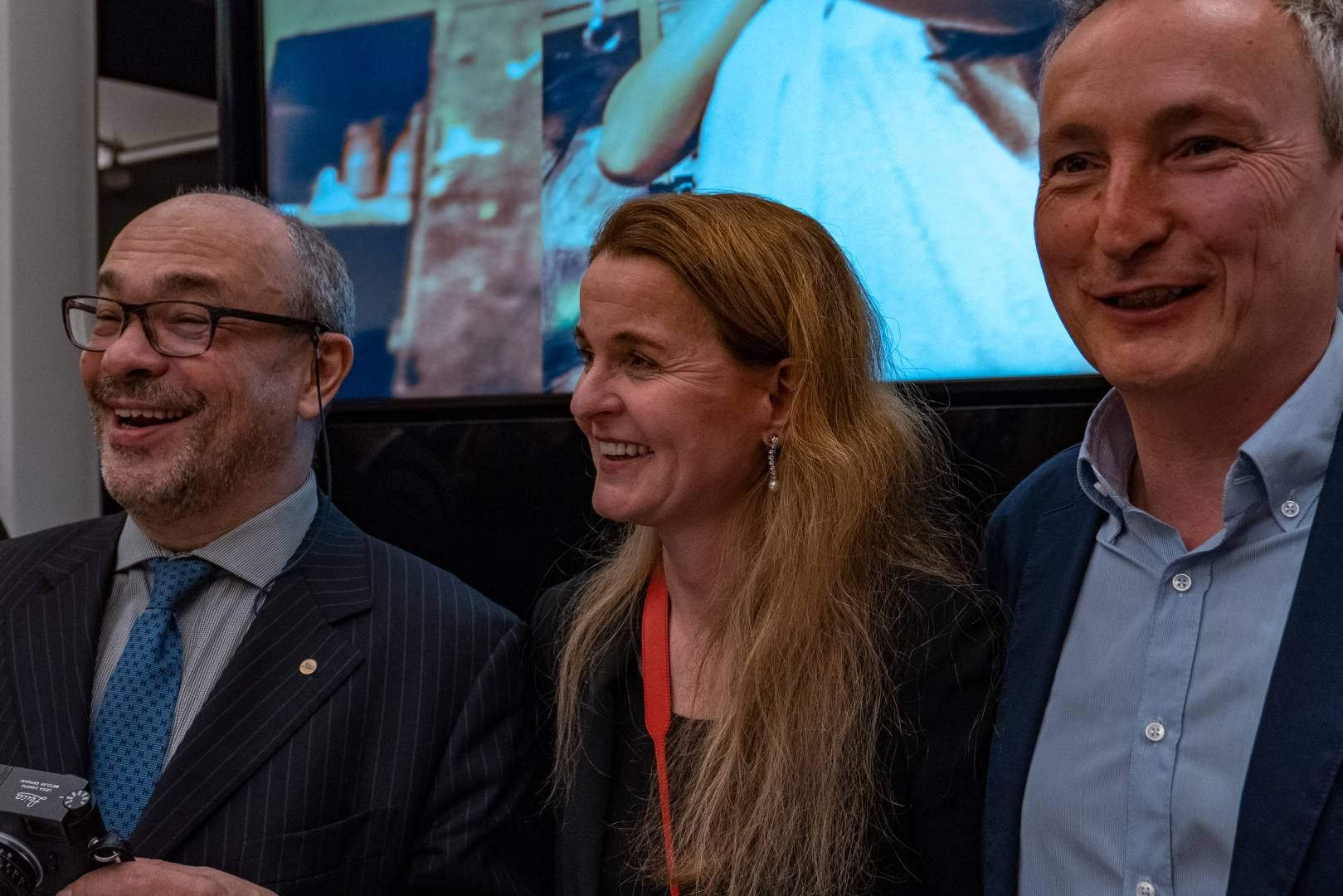 Andreas Kaufmann and Karin Rehn-Kaufmann with Leica UK managing director Jason Heward