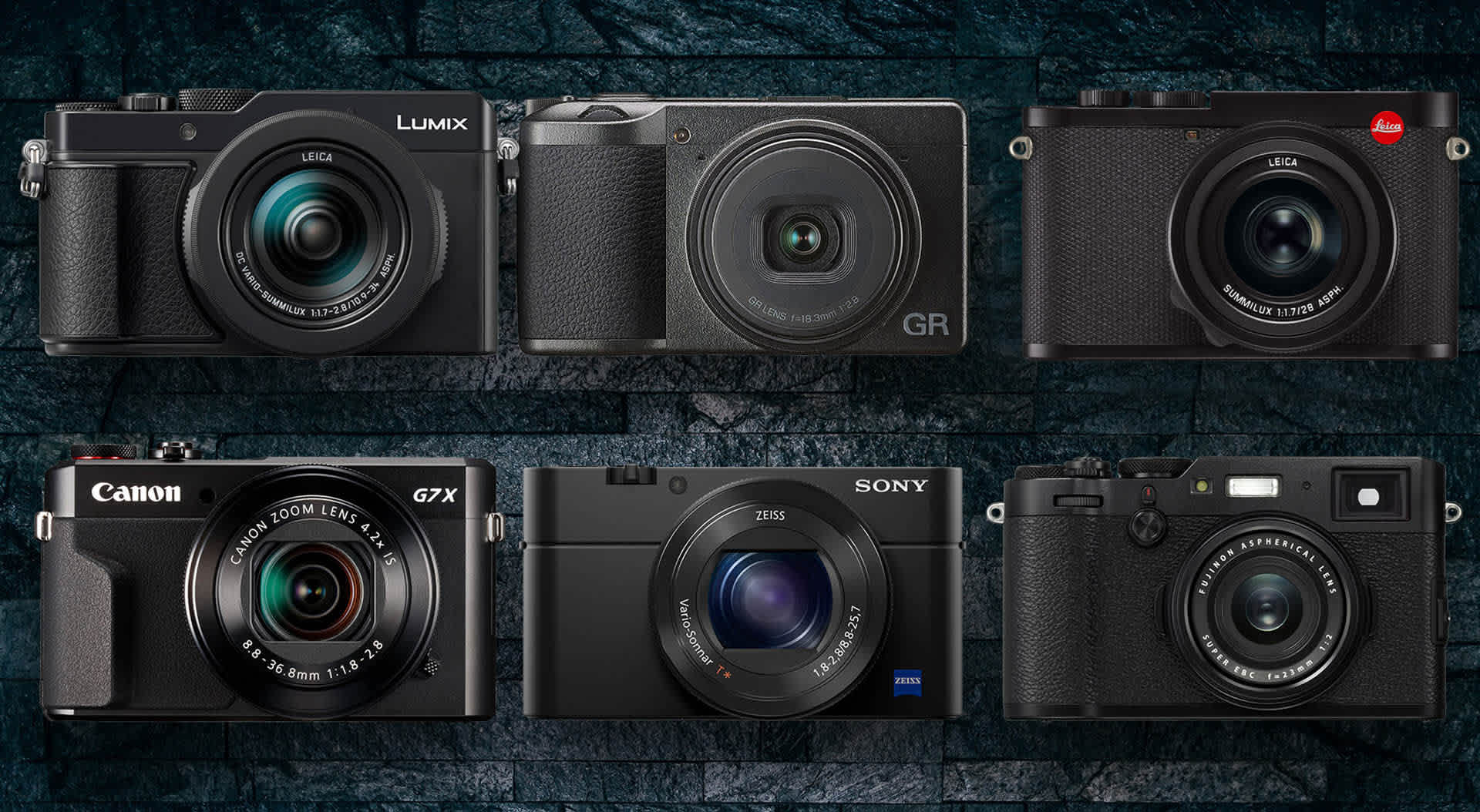 A perfectly symmetrical sextuplet of travel cameras — but of course they aren't all the same size as shown here at DigitalRev. The Sony is acutlaly the smallest and the Leica Q2 the biggest by quite a margin. But they are all ideal travel cameras.