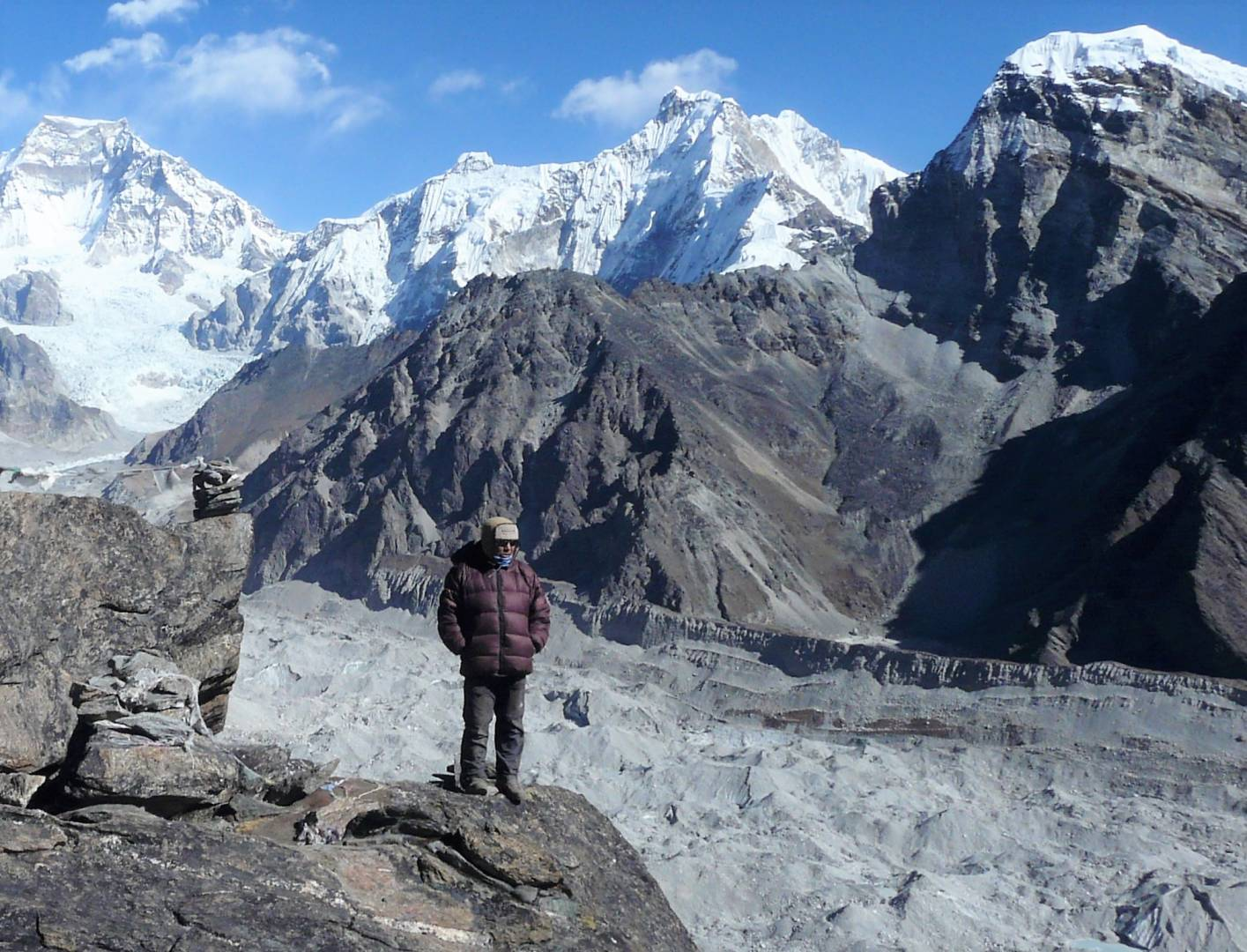 View from Gokyo Ri, with our head guide Rinzin Sherpa keeping his ever watchful eye over over us.