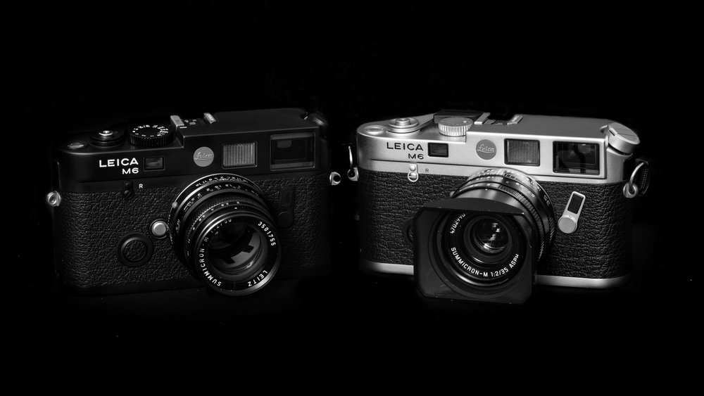 Claus Sassenberg's M6 TTL on the left  and his M6 on the right. Note that the M6TTL is slightly taller and has the larger shutter speed dial which I find easier to operate (Image Claus Sassenberg of Messsucherwelt.com