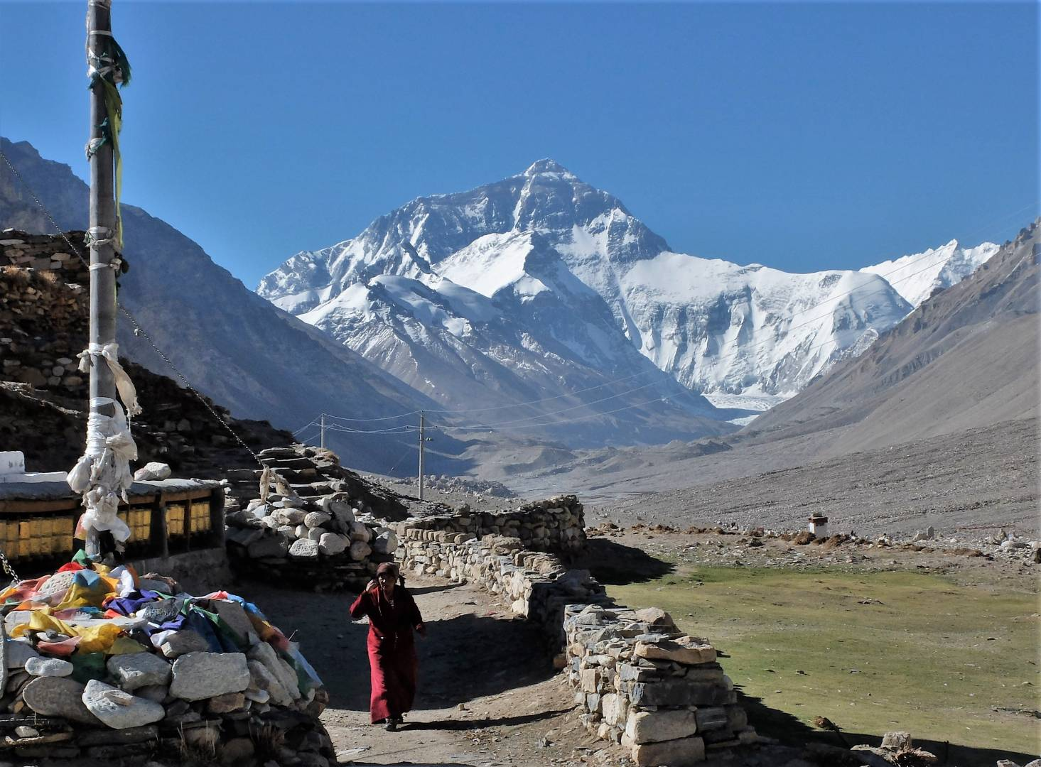 Morning at the Rongbuk Monastery. Courtyard and breakfast time inside.