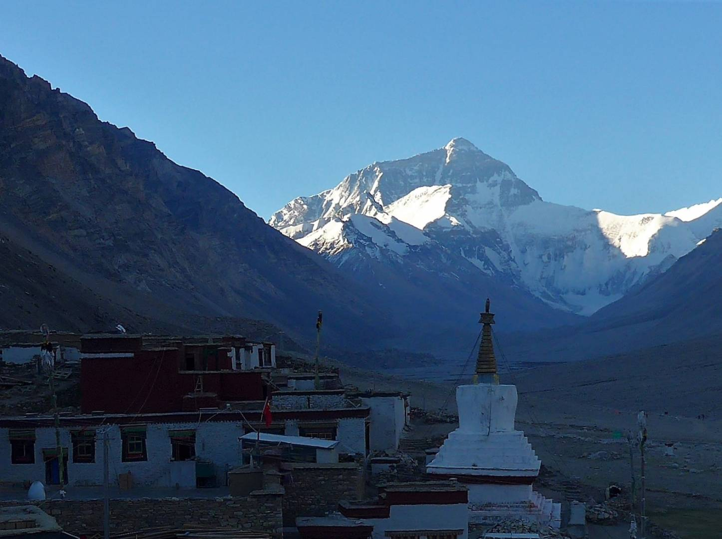 Sunrise. Photos were taken overlooking the Rombuk Monastery in the foreground