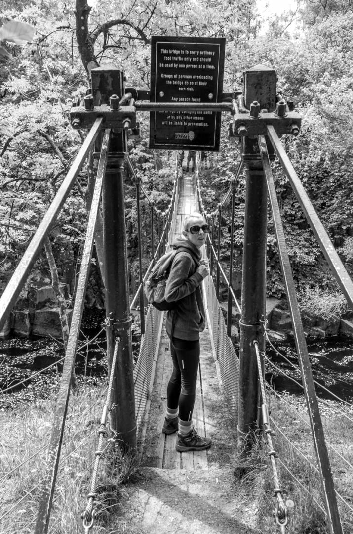 Wynch Bridge - Liz braves the shaky crossing