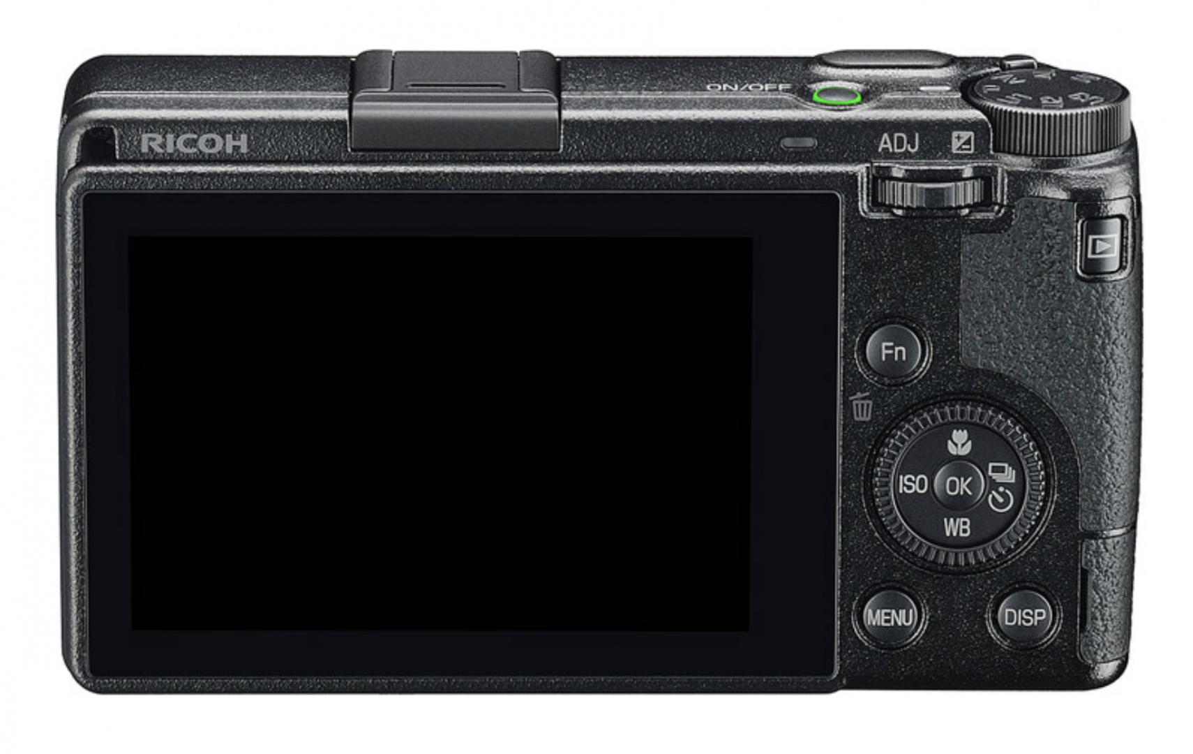 Simplified control layout and larger screen (with touch functions) sets the GR III apart. The previous rocker compensation dial (in the same postition as the play button on the GRIII) has disappeared. Instead, the ADJ wheel is used to alter exposure compensation. The flash has gone in the interests of screen size and length
