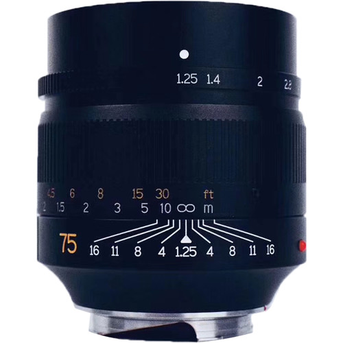 """The lookalike, not yet announced but well documented already. The 7Artisans """"Noctilux"""" comes with familiar red dot and orange focal-length inscription. All for under £500 compared with Leica's £10,250. Image, B&H Photo"""