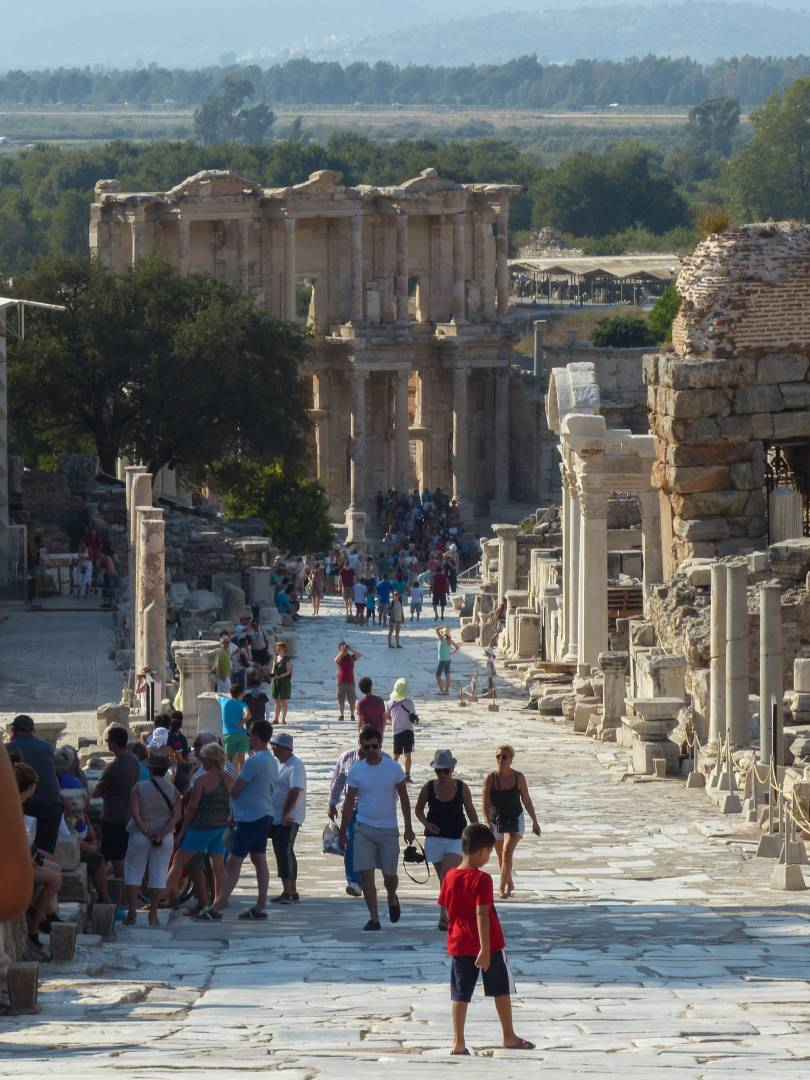 Approaching the Library of Celsus on Curetes Street