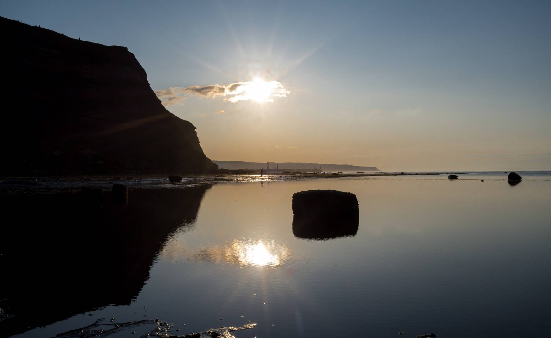 Double sun reflection of Whitby East Pier - Leica X