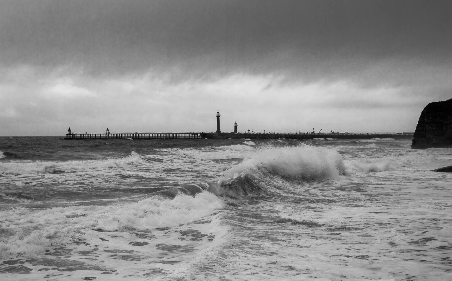 Heavy Sea near Whitby West Pier - Nikon Df