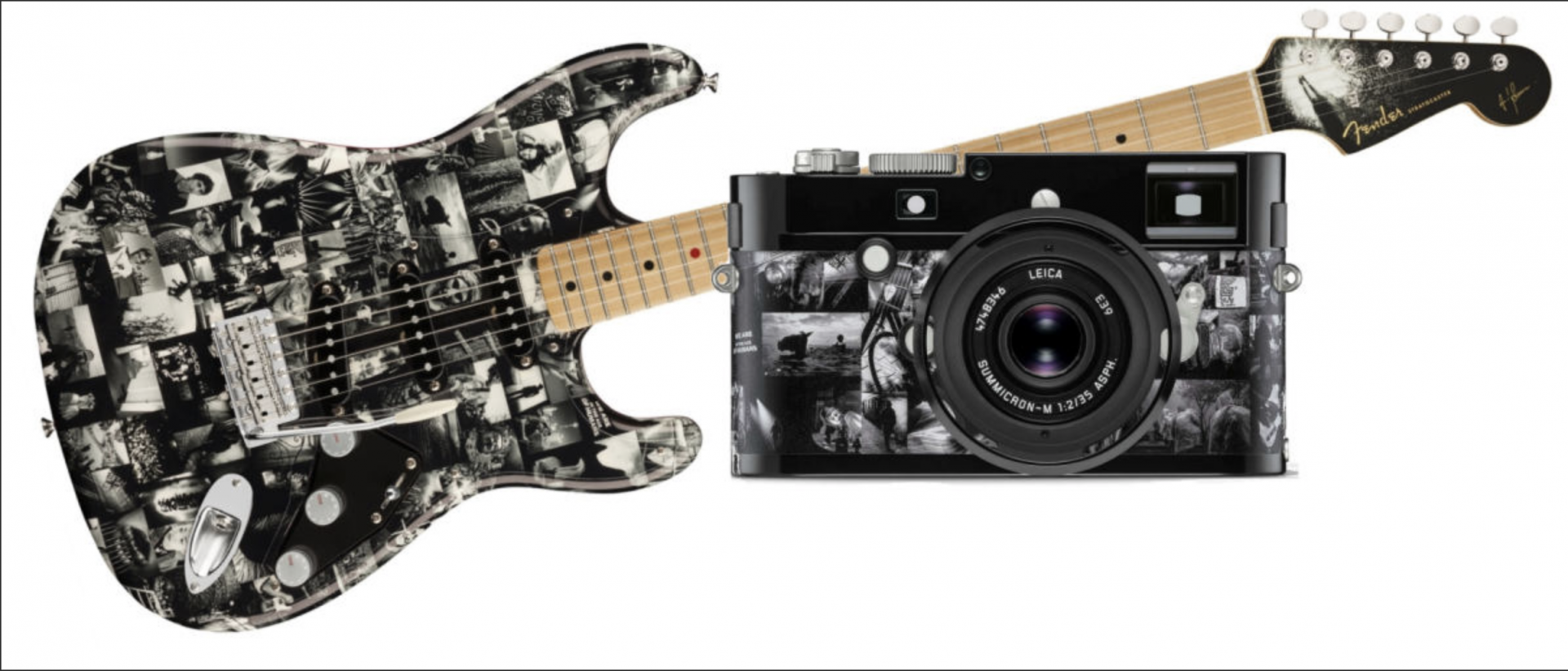 Matching set. The camera costs 15,000 dollars, no news on the cost of the Fender guitar