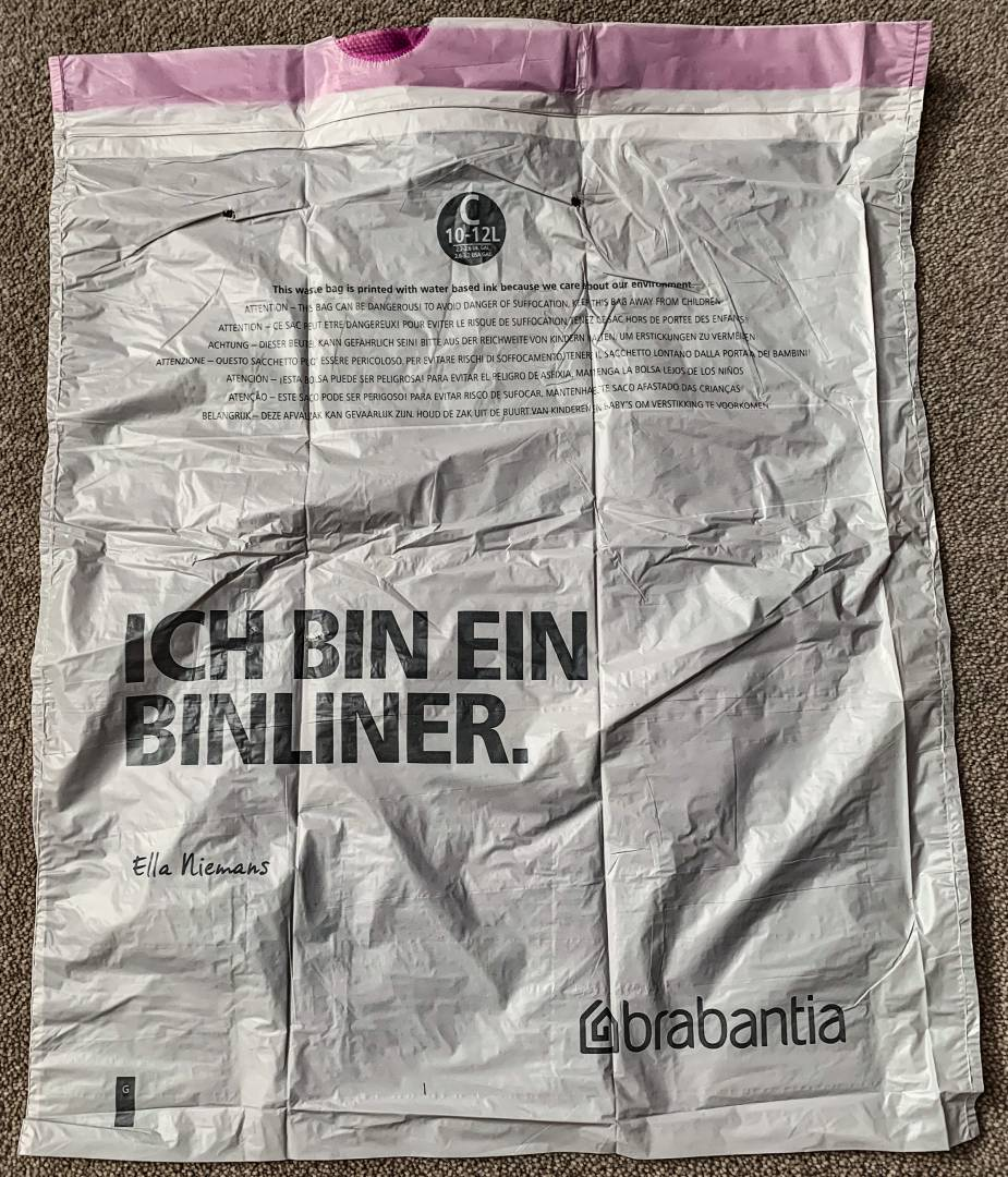 """Thankfully, Brabantia has a sense of humour which brings a smile to my face every time I change a liner in my bathroom """"rubbish bin"""". Trash nowhere in sight."""