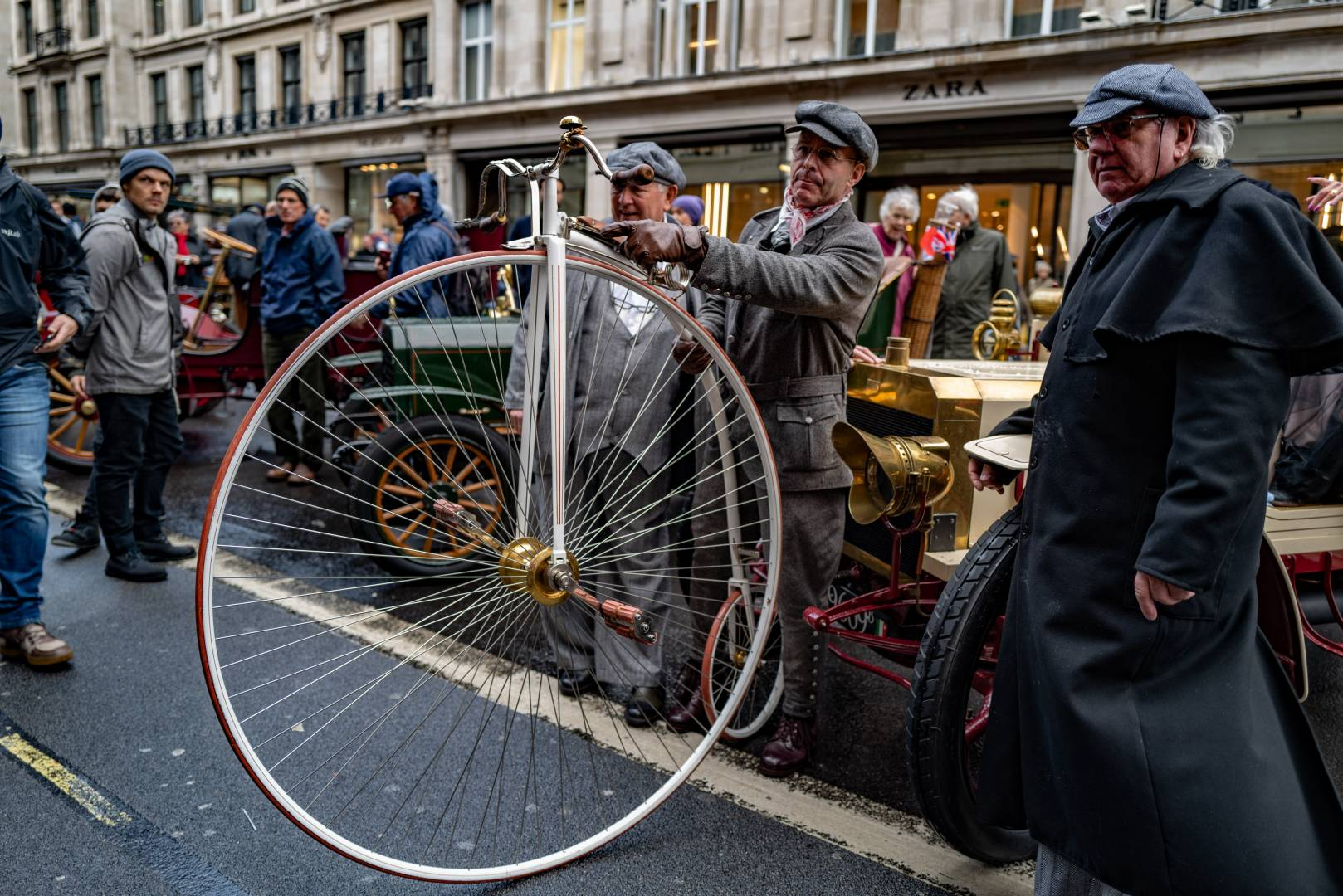 """A Swiss contingent, from Lucerne. I learned a new word. What, I asked, is the German for pennyfarthing. It's a Hochrad or """"high bicycle""""."""