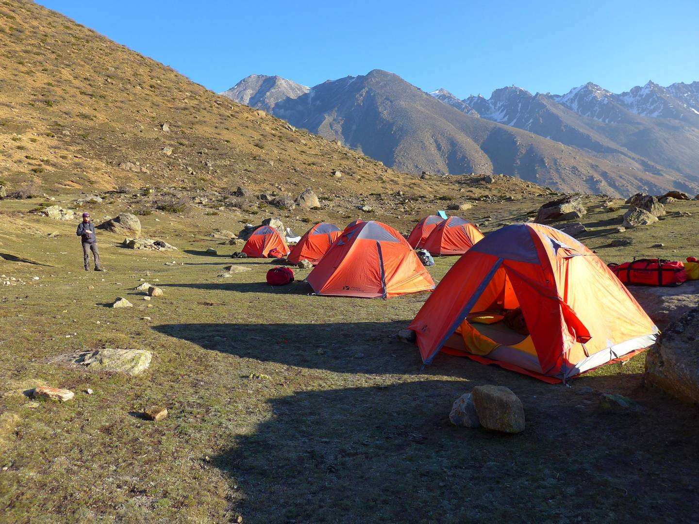 The first campsite. A level area on the side of a mountain at about 4,300metres