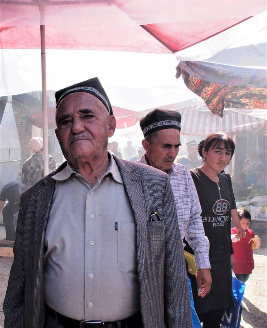 Different generations, Istravshan bazaar, Tajikistan