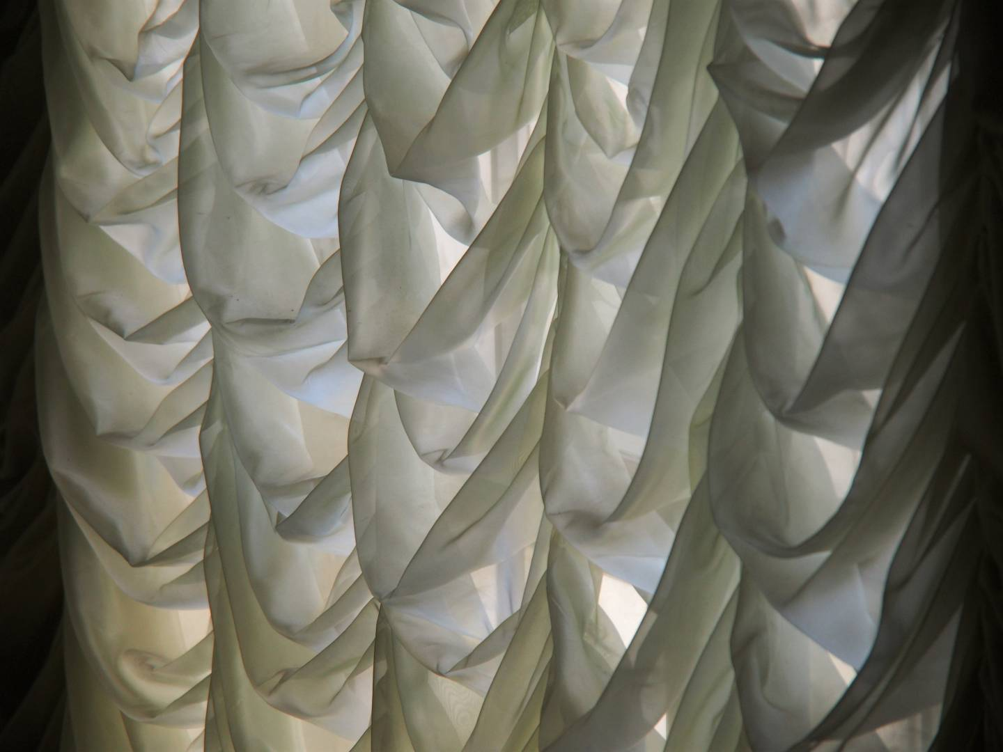 Scrim curtains in the morning light, at Arbob Palace, Khujand Tajikistan