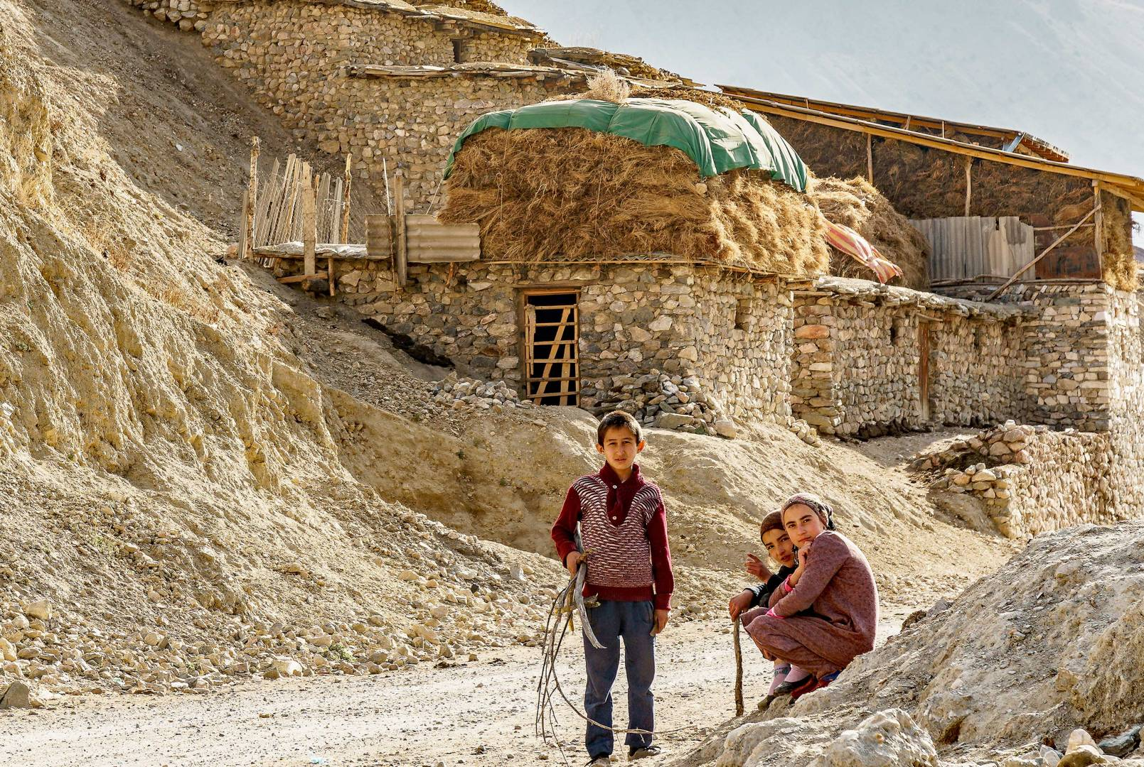 Villagers, off the beaten track in ancient Margib village, Tajikistan