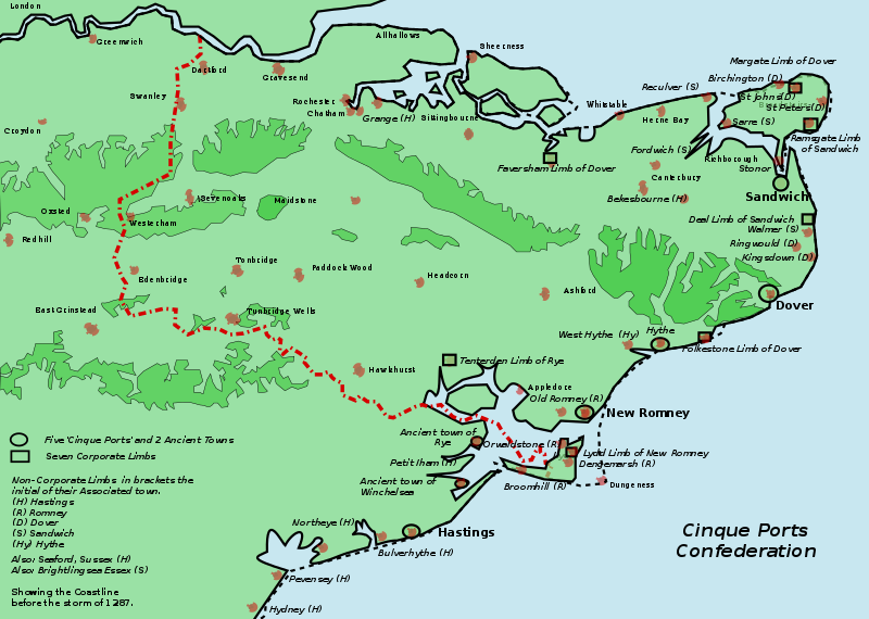 The Cinque Ports confederation (Wiki Commons)