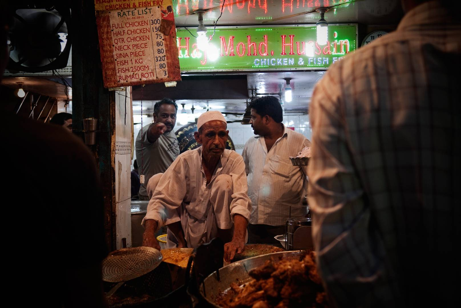 Haji Mohd. Hussain Chicken and Fish Fry, Matia Mahal, Jama Masjid area. The shop does brisk business at iftar, the breaking of fast during the month of Ramzan.