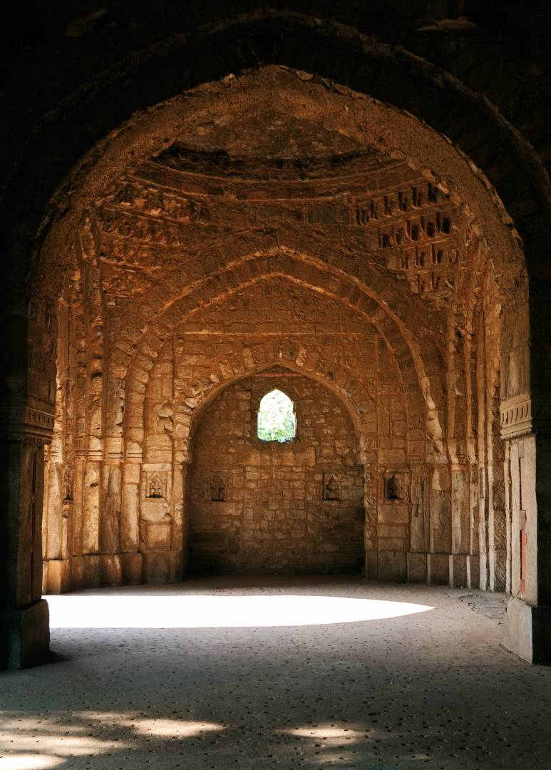 The prayer hall of Jamali Kamali's mosque in Mehrauli Archaeological Park. Jamali, also known as Jalal Khan, a 16th century poet, lived during the reign of Sikander Lodi and Emperor Humayun. The mosque dates from 1528.