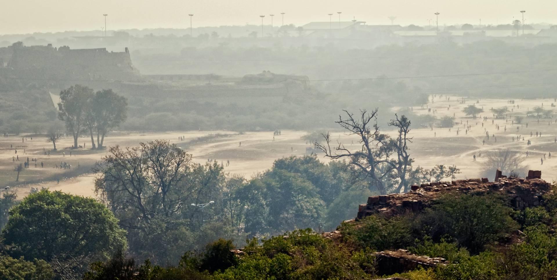 Adilabad Fort through the haze, Tughlakabad.