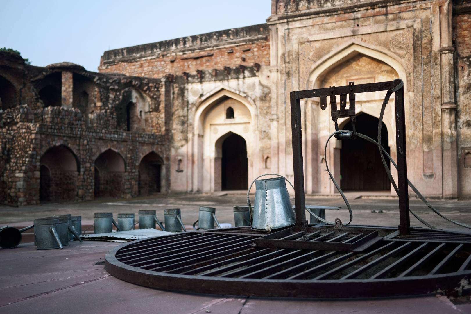 Khair-ul-Manazil, Mathura Road. The water well is an important feature of every mosque as worshippers must perform ablution before prayers.