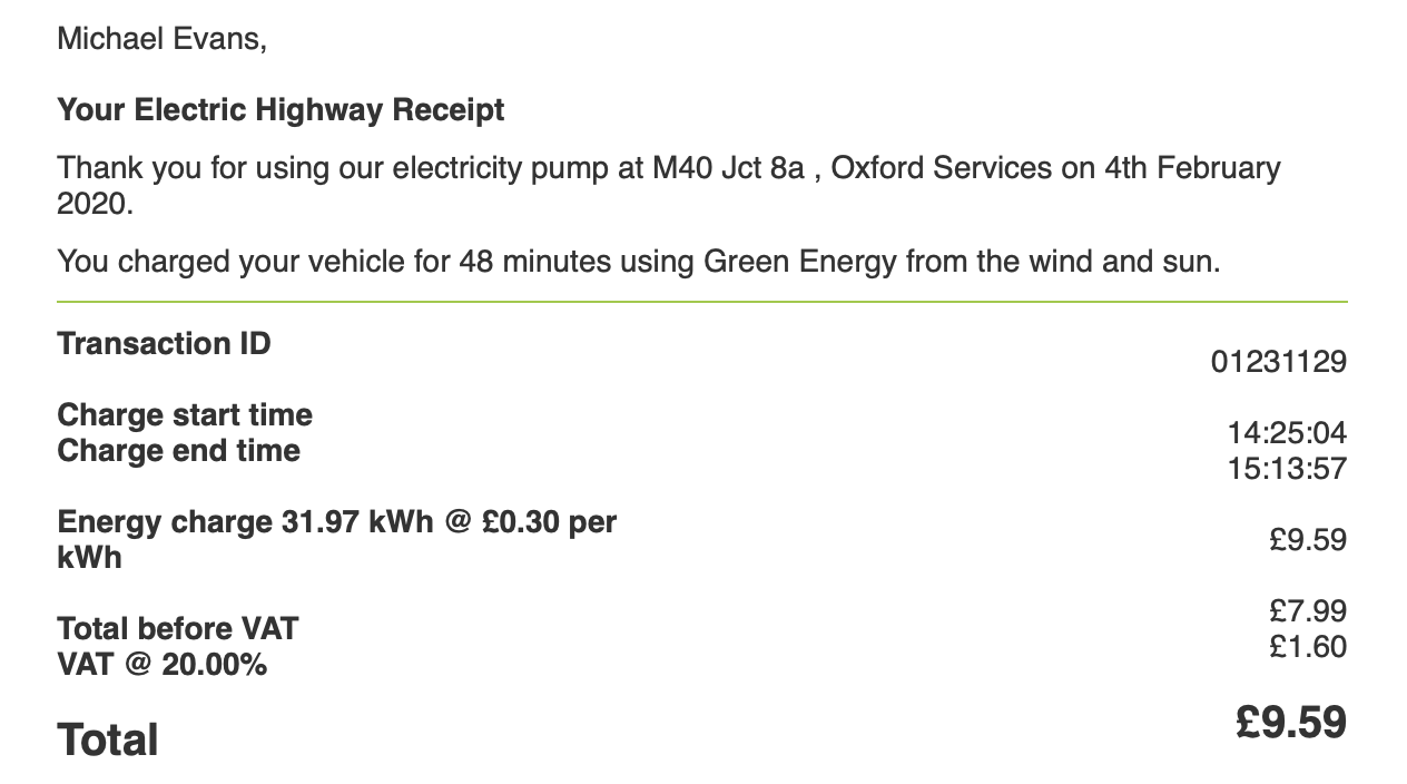 This is more like it - 75 or 80 miles more for £9.59 in just 45 minutes at the faster 50 kWh charger.
