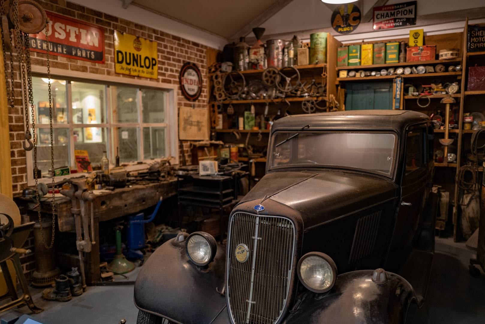 The life we're leaving behind. How things were in a 1935 repair shop. A scene at the British Motor Museum, Gaydon