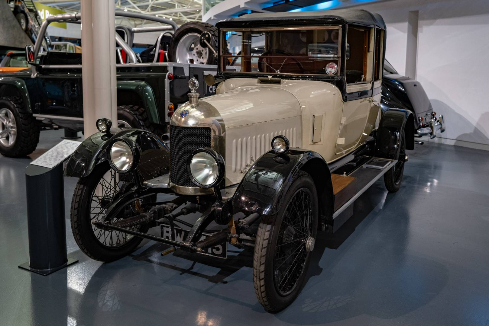 """Sir William Morris's personal transport in 1921, the """"bullnose"""" Morris Oxford F-type. This car was the prototype for the six-cylinder Oxfords. Unfortunately it was not a great success and only 50 of these """"silent sixes"""" were produced."""