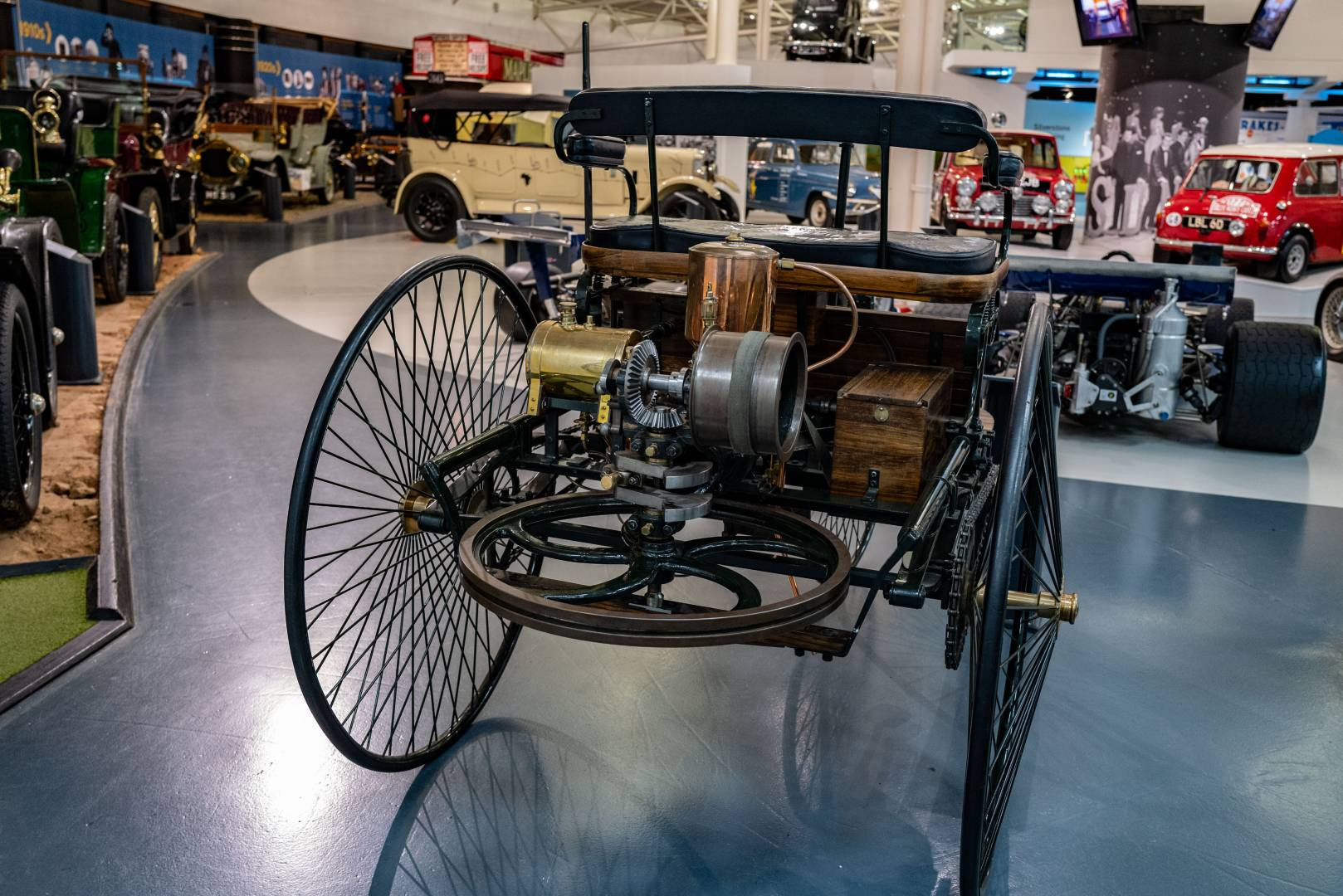 How's this for a flywheel? Lots of naked gears and whirly stuff on this replica early Daimler