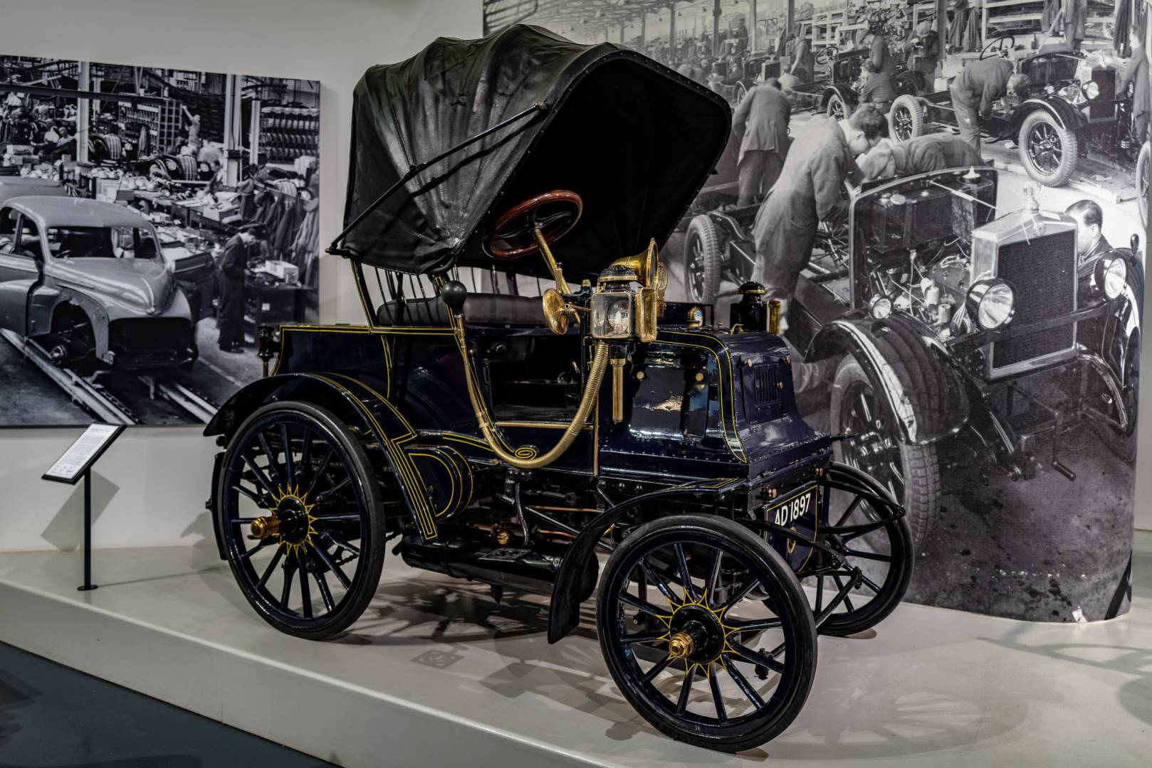 This magnificent beast is the 1807 Daimler Grafton Phæton, the oldest Coventry-built Daimler. The company was founded the year before and held the British rights to the German Daimler patents. Originally purchased by a Shropshire doctor who, repudedly, took it on tours of France and Belgium, it has had only four owners from new — one of whom kept it from 1906 to 1954. It's powered by a 2-cylinder 1527cc engine and speeds up to 24 mph. In 1897 it cost £375, a small fortune in those days