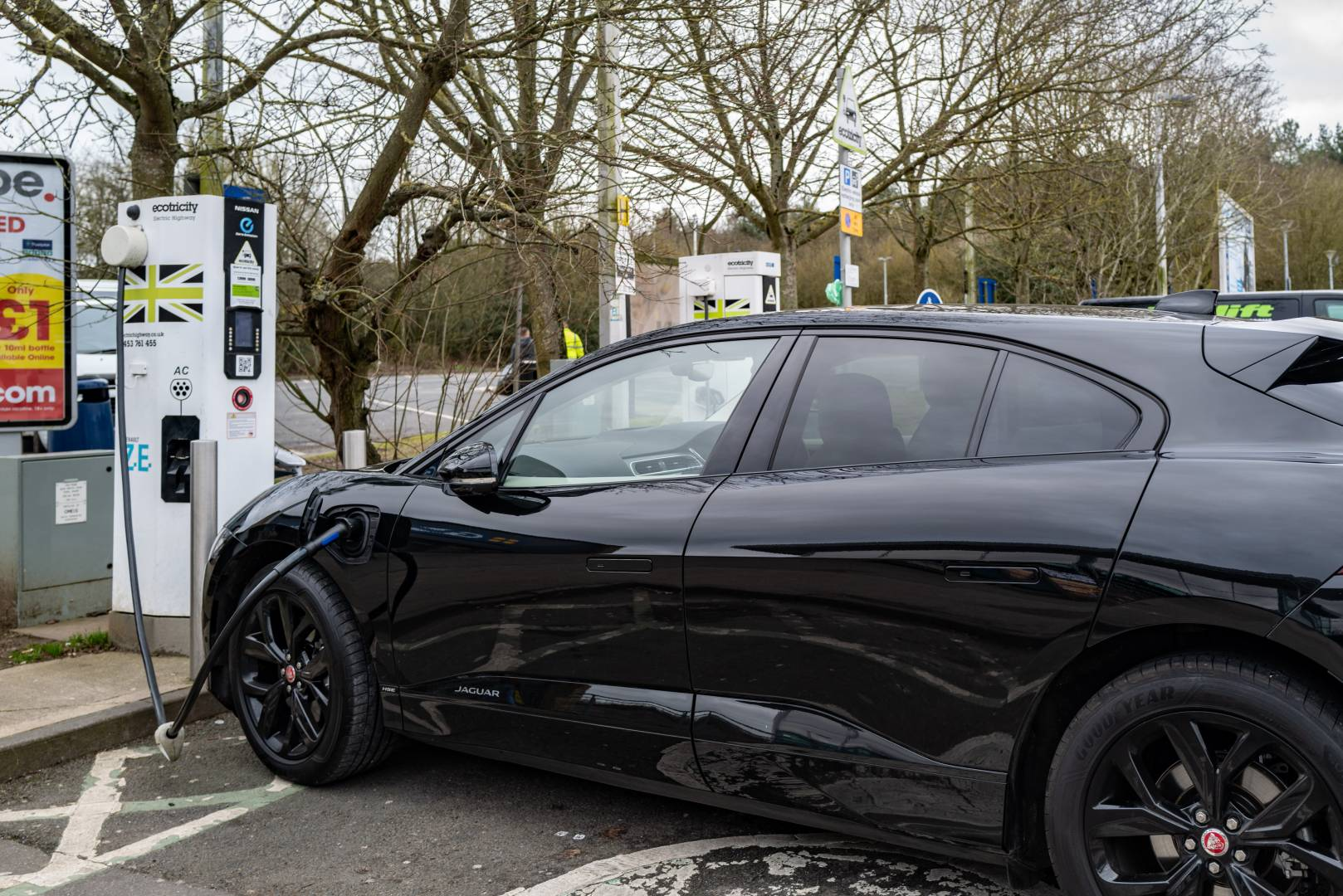 Tucked away in a corner of the car park at the busy Cherwell Valley services on the M40. Just two chargers for all the world's EVs (except Tesla, that is). And one of the two is a miserable and pretty useless 72.kWh device. A total waste of space.
