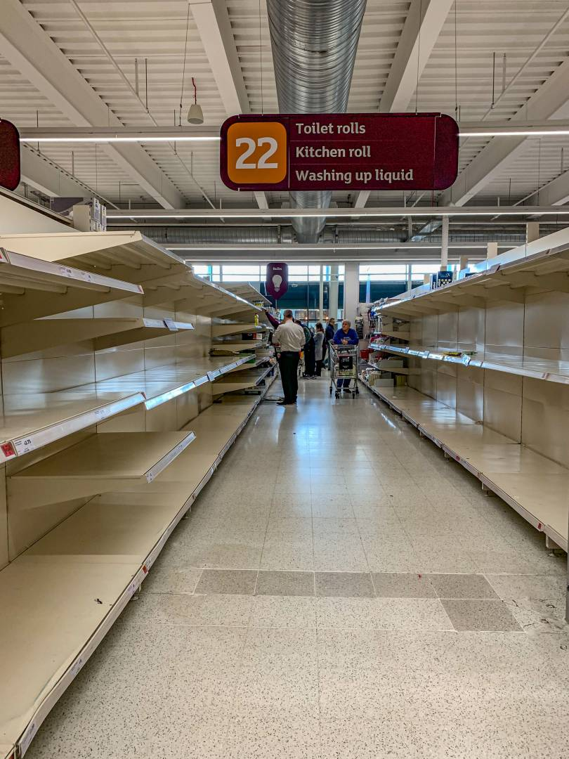 Someting I thought I would never see in London: Panic buyers following the herd. If the emptiest shelves are any guide, I preume that most people will be dining on tomato soup, canned tuna in toilet-roll wrap and canned peaches.