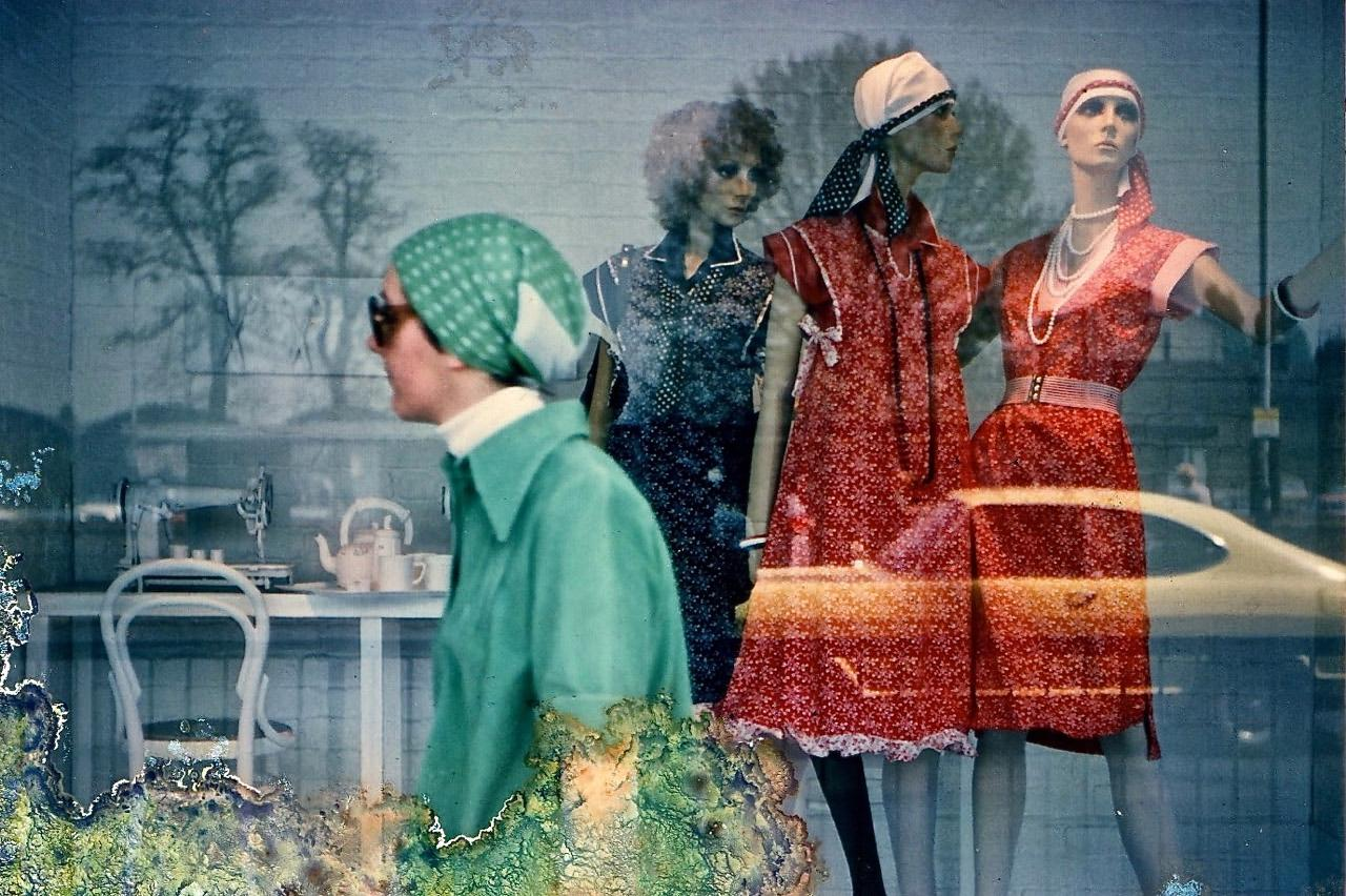 A rather ragged, fungus-eaten 44-year-old print from my 1976 photo album; a shopper passing Bentalls department store window in Kingston. I was proud of my split second reflexes,  catching a passer-by dressed just like the window dummies! The Ford Capri rather dates it, though.