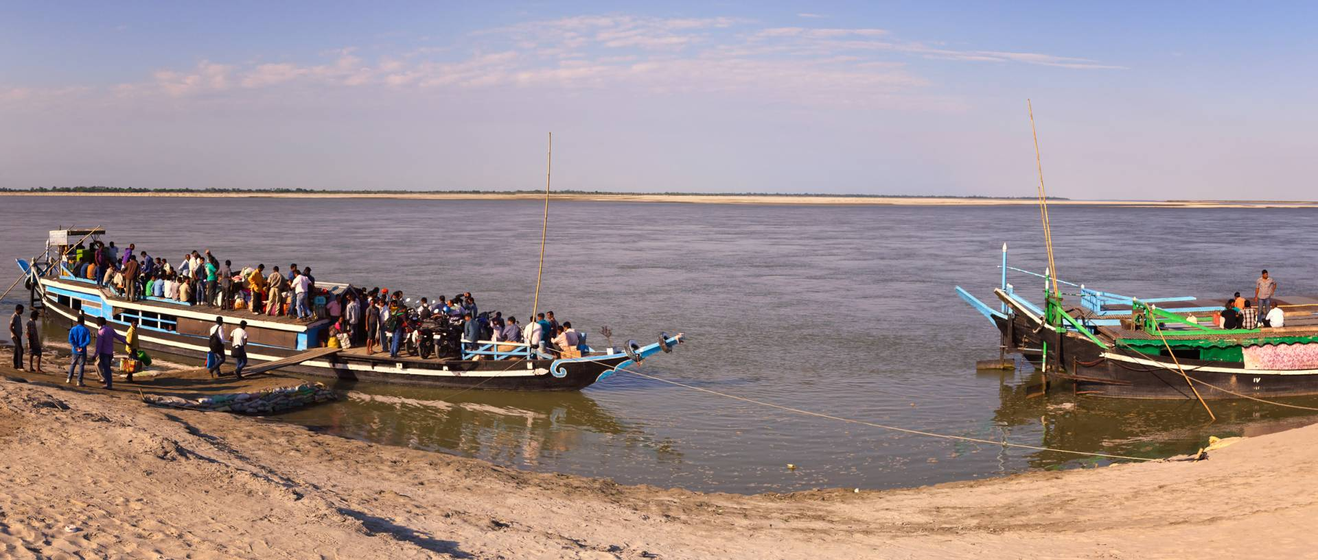 Taking the ferry to Majuli at Nimati ghat