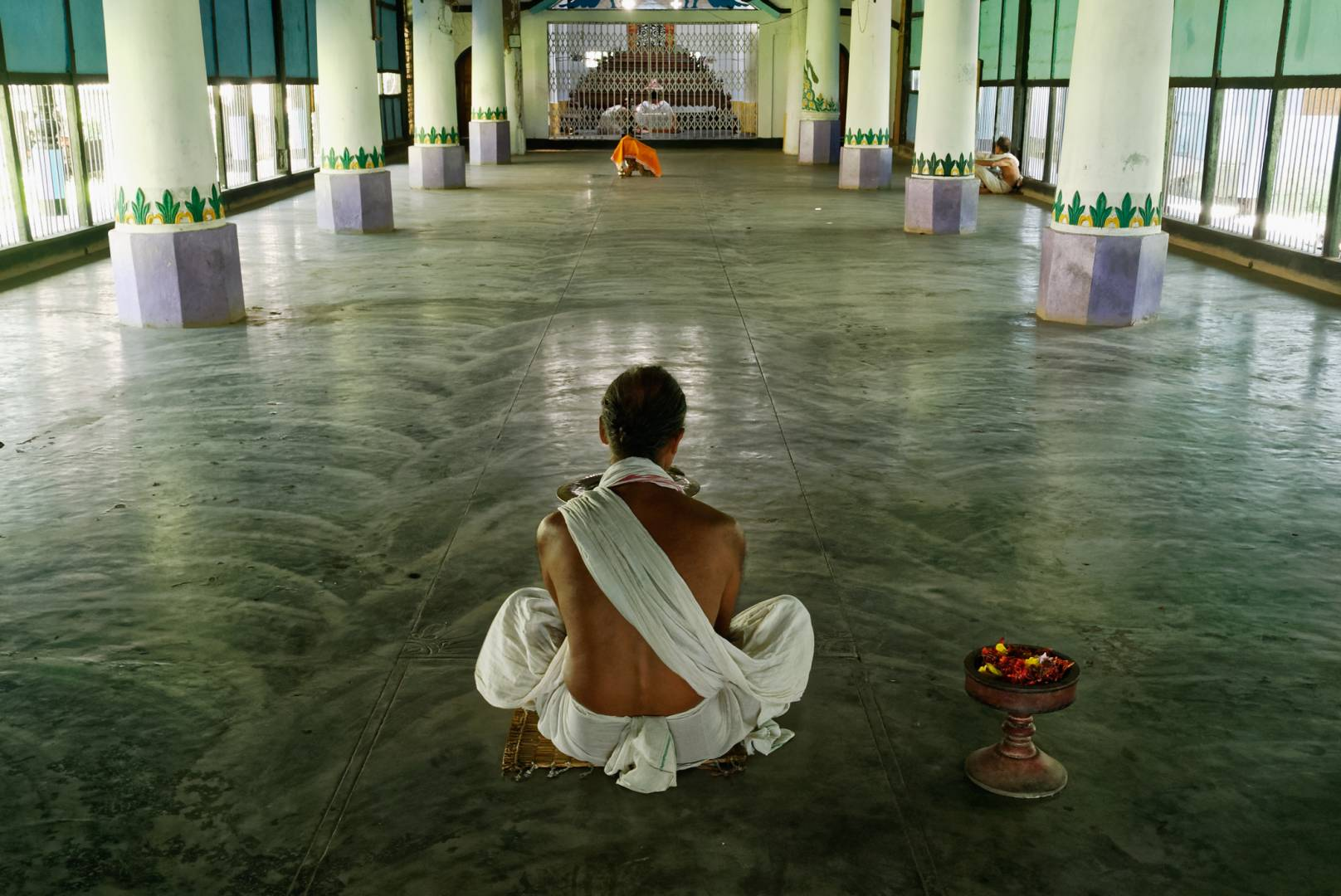 Inside the prayer hall of Uttar Kamalabari Satra