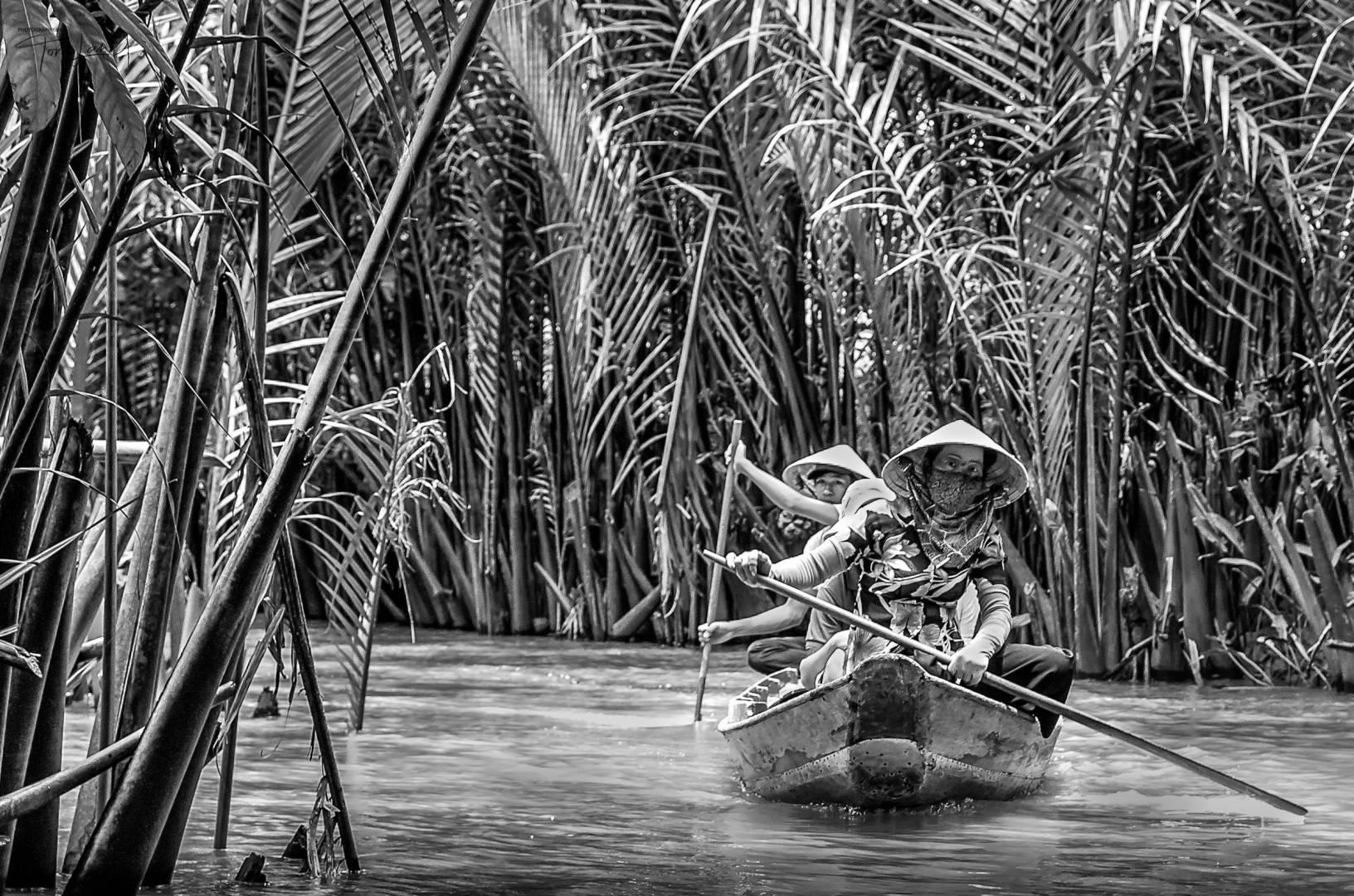 """Paddling the Mekong""' Vietnam (Leica M9 Monochrom and Tri-Elmar 28-35-50 set at 35mm)"