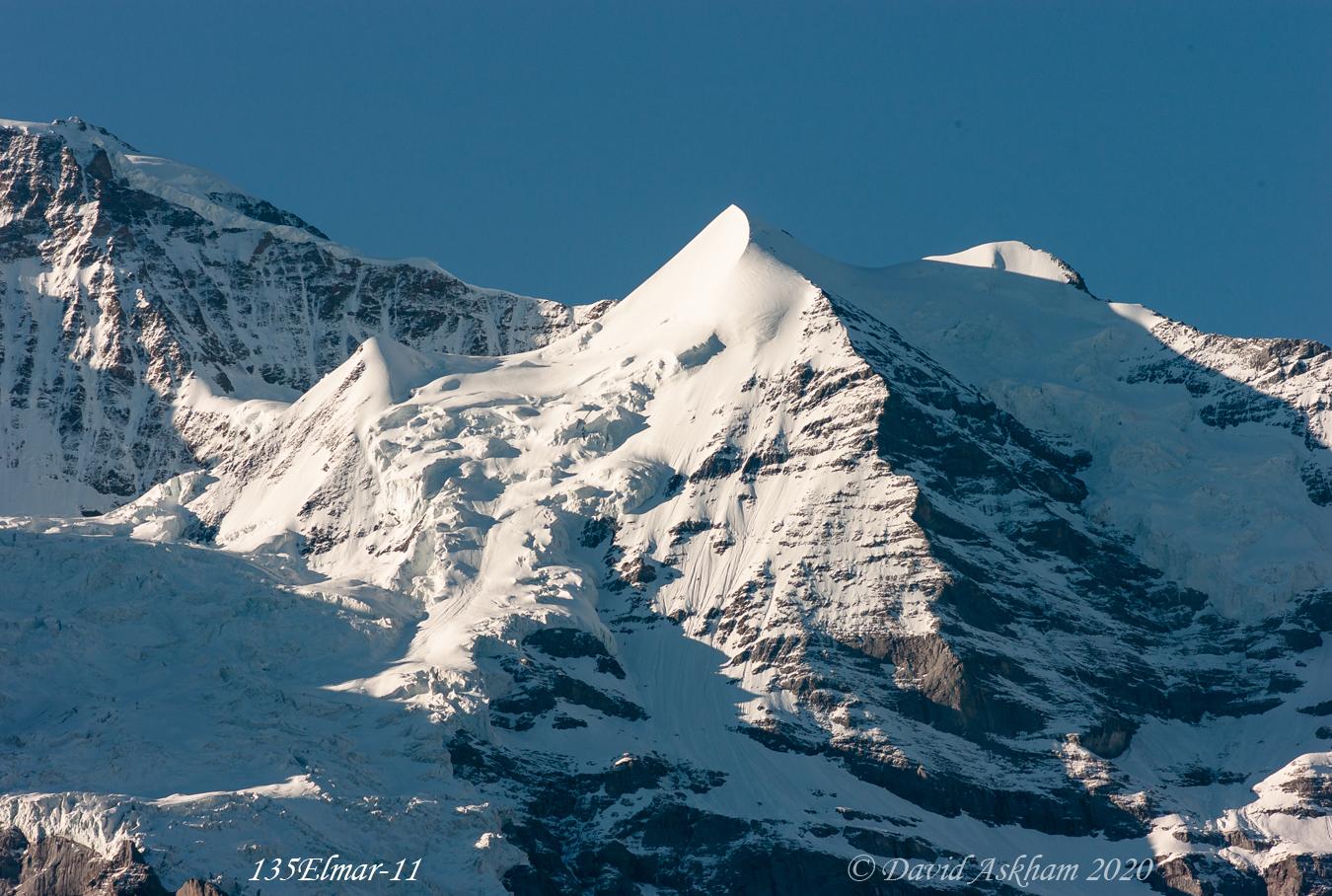 Alpine landscape with Silberhorn viewed from Wengen Switzerland (Leica M8 with 135mm Elmar lens (From same hotel balcony)