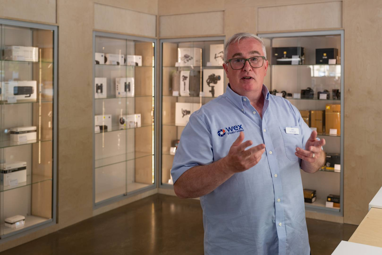John Murphy, the manager of the new Wex store, waiting for new stock to filter through. John is known to many readers from his time with Leica UK, including his management of the Leica Store Mayfair.