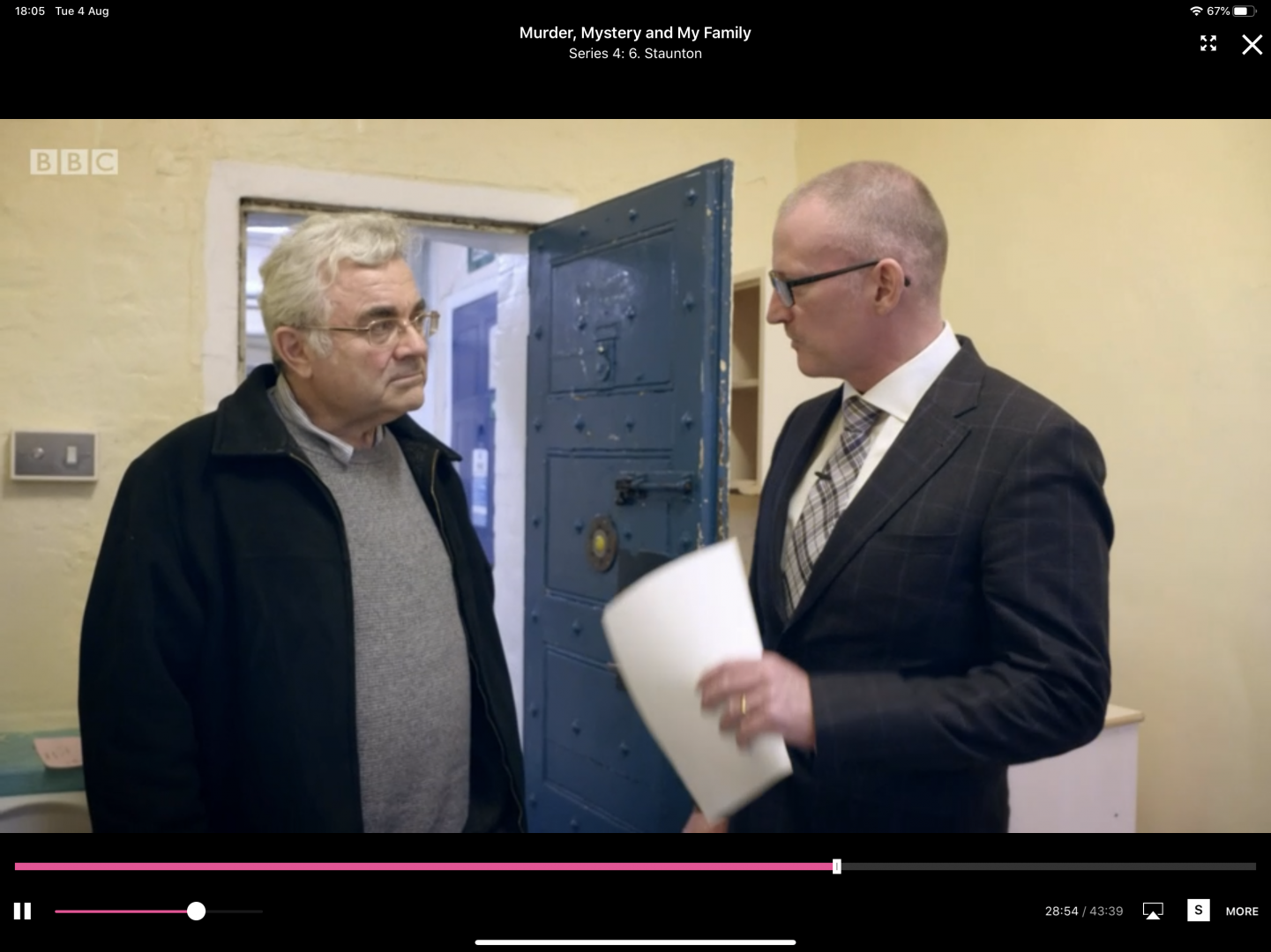 """Our Mr Seargeant (""""The Guv"""", right) gives reassurance Nigel (left) to the grandson of Louis Staunton who was convicted of murder in 1877 and housed in one of these cells at Maidstone Prison. Check if on BBC iPlayer."""